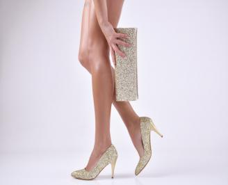 Комплект дамски обувки и чанта еко кожа/брокат златисти RNMU-26170