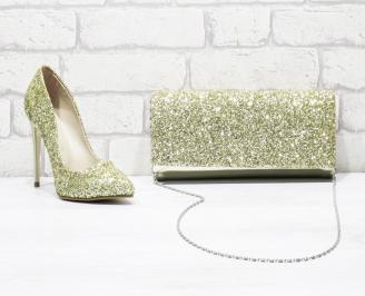 Комплект дамски обувки и чанта еко кожа/брокат златисти FOIL-26171