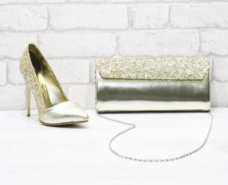Комплект дамски обувки и чанта еко кожа/брокат златисти YGCK-26173