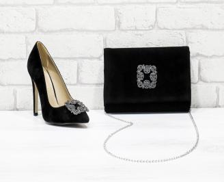 Комплект дамски обувки и чанта еко набук/черни GPQH-26175