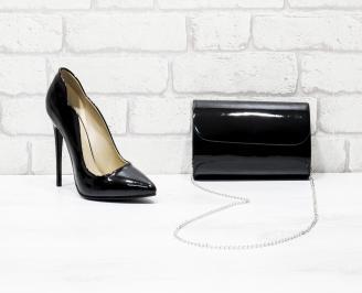 Комплект дамски обувки и чанта еко кожа/лак черни DBVL-26235