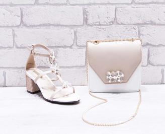 Комплект дамски обувки  и чанта еко кожа бежови KKEP-26757