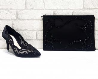 Комплект дамски обувки  и чанта еко кожа черни JZZZ-26760