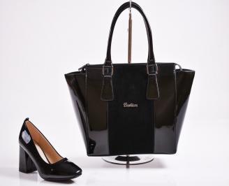 Комплект дамски обувки  и чанта еко кожа черни FEXM-27074