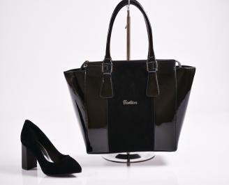 Комплект дамски обувки и чанта еко набук  черни VBXD-27076