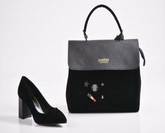 Комплект дамски обувки и чанта еко набук  черни JWNN-27077
