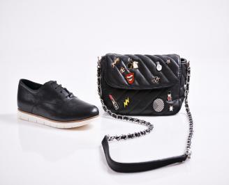 Комплект дамски обувки  и чанта естествена кожа черни ULVM-27078