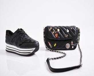 Комплект дамски обувки и чанта еко кожа  черни COMC-27079