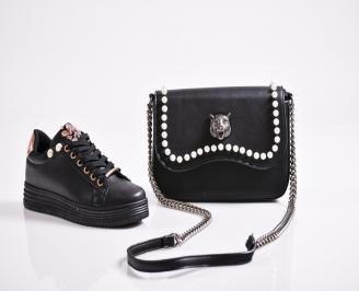 Комплект дамски обувки и чанта еко кожа  черни BUDB-27080