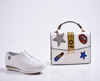 Комплект дамски обувки и чанта естествена кожа бели FPME-27081