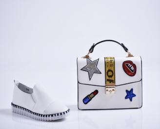 Комплект дамски обувки и чанта еко кожа бели LSUK-27082
