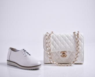 Комплект дамски обувки и чанта естествена кожа бели CWIB-27083