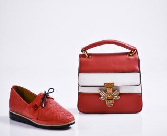 Комплект дамски обувки и чанта естествена кожа червени NNSS-27084