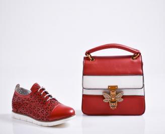 Комплект дамски обувки и чанта естествена кожа червени PEVH-27085