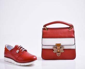 Комплект дамски обувки и чанта естествена кожа червени ILFZ-27086
