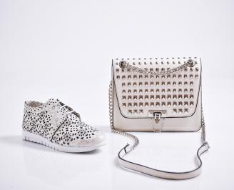 Комплект дамски обувки и чанта естествена кожа бежови DMWX-27087