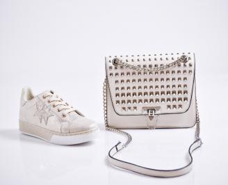 Комплект дамски обувки и чанта еко кожа бежови ANOO-27088