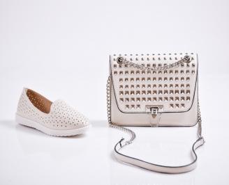 Комплект дамски обувки и чанта еко кожа бежови GHJI-27089