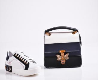Комплект дамски обувки и чанта естествена кожа бели TTAC-27090