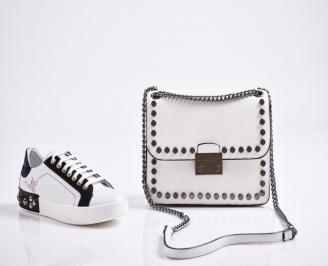 Комплект дамски обувки и чанта естествена кожа бели OQFS-27091