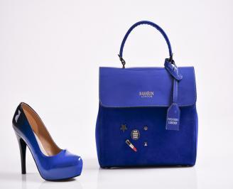 Комплект дамски обувки и чанта еко кожа/лак  сини MHYC-27094