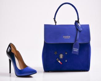 Комплект дамски обувки и чанта еко кожа/лак  сини YLUK-27097