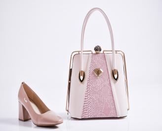 Комплект дамски обувки и чанта еко кожа/лак розови ZVIQ-27098