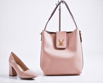 Комплект дамски обувки и чанта еко кожа/лак розови XYVY-27099