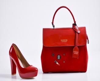 Комплект дамски обувки и чанта еко кожа/лак червени KRVB-27100