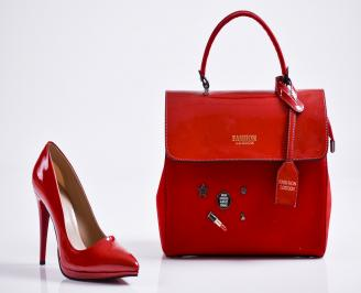 Комплект дамски обувки и чанта еко кожа/лак червени VWRL-27101