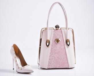 Комплект дамски обувки и чанта еко кожа/лак пудра KHEY-27102
