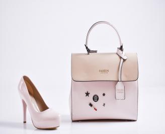 Комплект дамски обувки и чанта еко кожа/лак пудра IMLL-27107