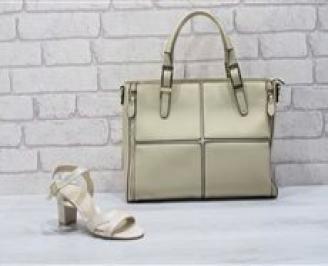 Комплект дамски сандали и чанта еко кожа/лак  бежови NSAH-24769