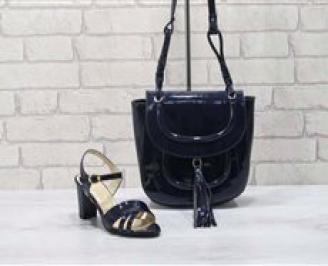 Комплект дамски сандали и чанта еко кожа/лак черни WQWX-24773
