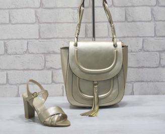 Комплект дамски сандали и чанта еко кожа златисти YIOL-24775