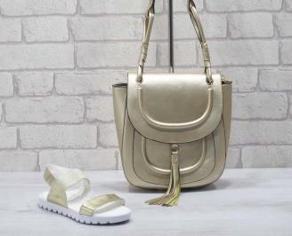 Комплект дамски сандали и чанта еко кожа златисти TQVZ-24776