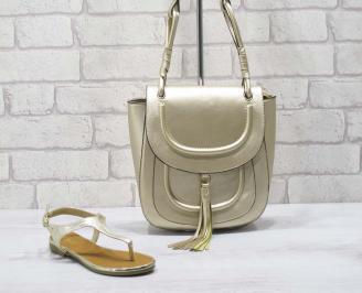 Комплект дамски сандали и чанта еко кожа златисти IJBC-24777
