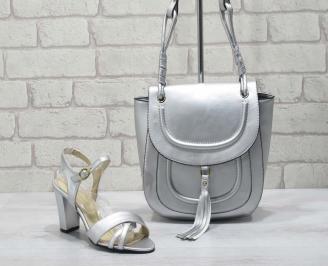 Комплект дамски сандали и чанта еко кожа сребристи IGBK-24778