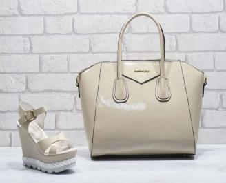Комплект дамски сандали и чанта еко кожа/ лак бежови EFJC-24806