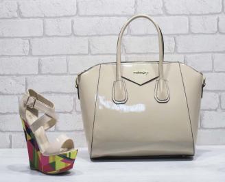 Комплект дамски сандали и чанта еко кожа/ лак бежови JPBR-24807