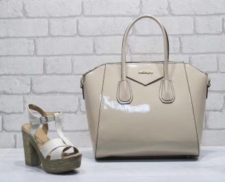 Комплект дамски сандали и чанта еко кожа/ лак бежови MZPE-24808