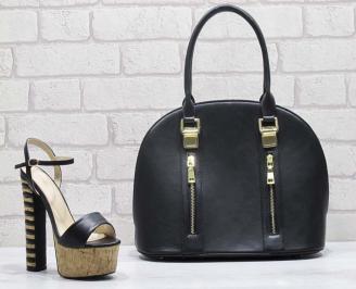 Комплект дамски сандали и чанта еко кожа черни MGCR-24820