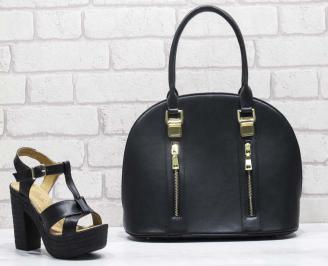 Комплект дамски сандали и чанта еко кожа черни TAIO-24821