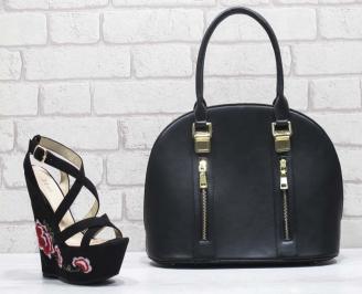 Комплект дамски сандали и чанта еко кожа/текстил черни MXQC-24822