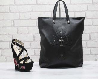 Комплект дамски сандали и чанта еко кожа/текстил черни ZIKZ-24826