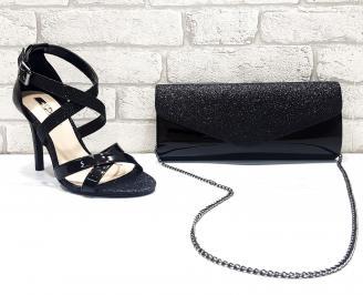 Комплект дамски сандали  и чанта еко лак черни DVFW-26755