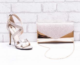 Комплект дамски сандали  и чанта еко лак  златисти GXZR-26762