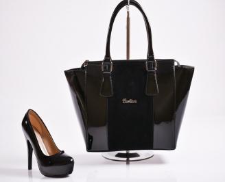 Комплект дамски сандали  и чанта еко лак  златисти YXZT-27075