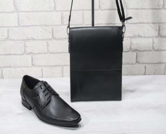 Комплект мъжки обувки и чанта черен естествена кожа ZZPK-24689