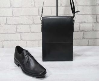 Комплект мъжки обувки и чанта черен естествена кожа VKQU-24691